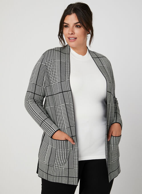 Houndstooth Open Front Cardigan, Black