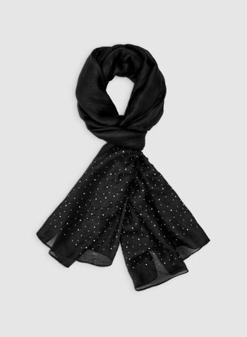 Pashmina Stones Scarf, Black, hi-res,  scarf, wrap, stone, pashmina, rhinestone, evening, fall 2019, winter 2018