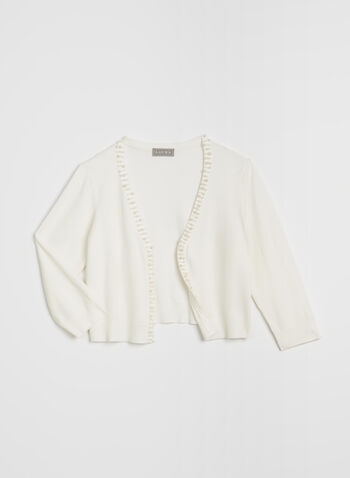 Beaded Trim Bolero , Off White, hi-res