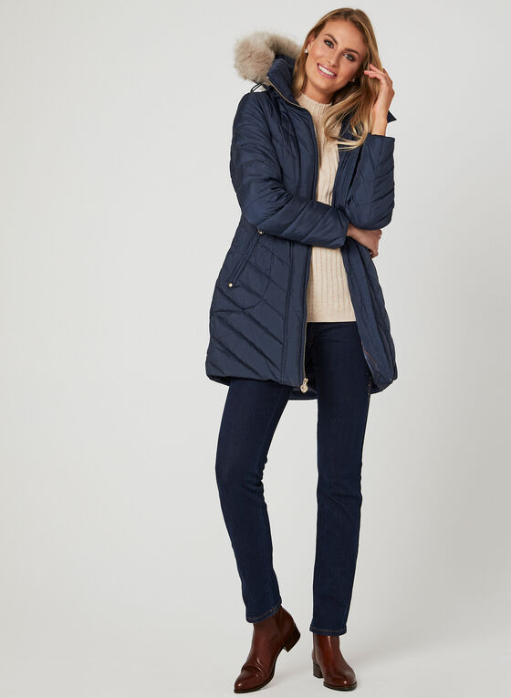 Anne Klein – Quilted Down Coat, Blue, hi-res