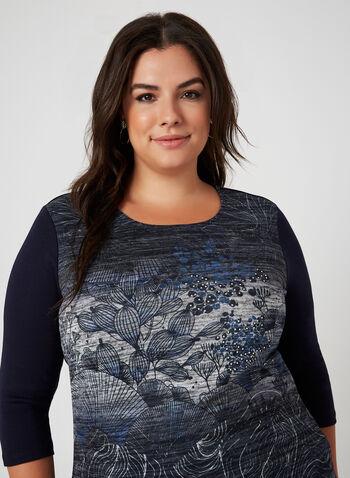 T-shirt motif exotique à manches ¾, Bleu,  t-shirt, manches 3/4, exotique, col dégagé, coton, automne hiver 2019