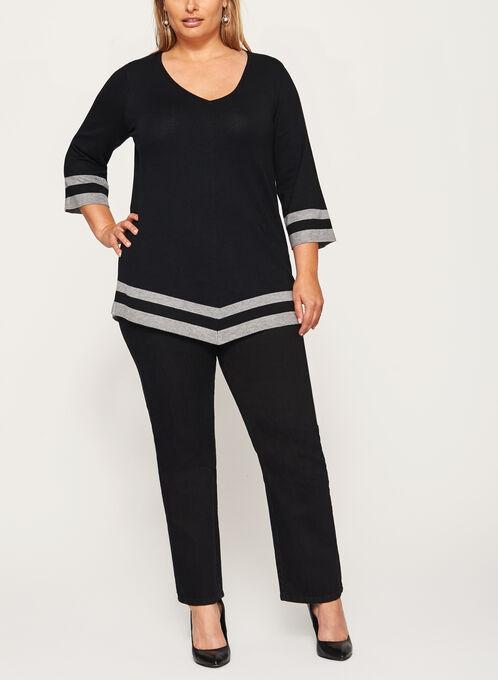 Pull asymétrique en tricot contrastant, Noir, hi-res