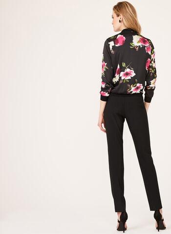 Satin Floral Bomber Jacket, Black, hi-res