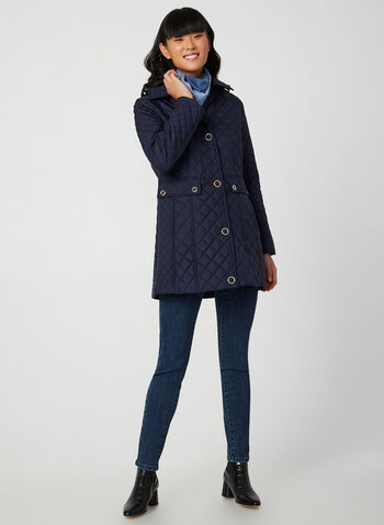Anne Klein - Hooded Diamond Quilt Coat, Blue, hi-res,  diamond quilt, quilt coat, quilt coat, snaps, light coat, fall 2019, winter 2019