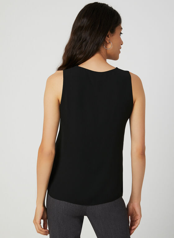 Button Neck Sleeveless Top, Black