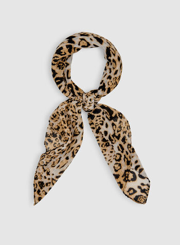 Animal Print Scarf, Off White, hi-res,  Spring 2019, pleated, leopard print, animal print, lightweight scarf