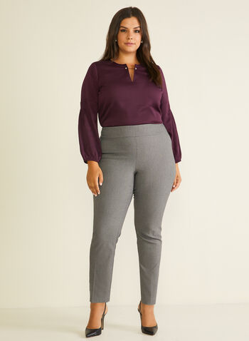 Meg & Margot - Pantalon pull-on droit style tweed, Noir,  pantalon, pull-on, jambe droite, bengaline, pinces, tweed, automne hiver 2020
