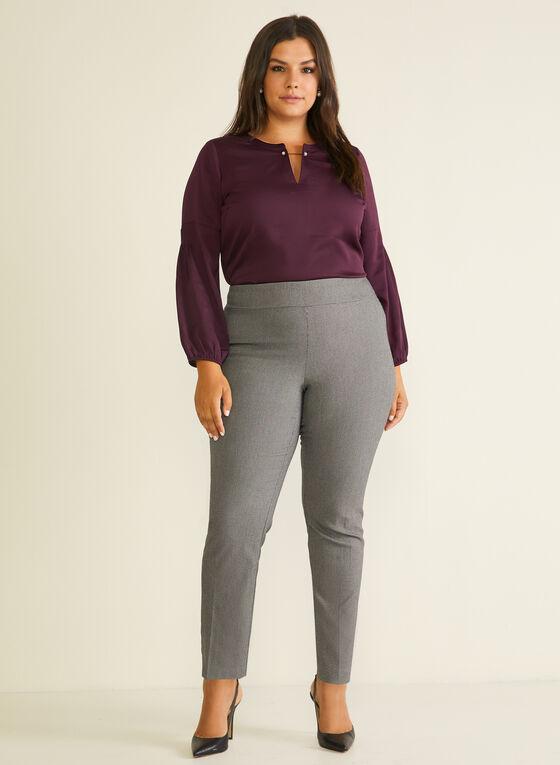 Tweed Style Pull-On Pants, Black