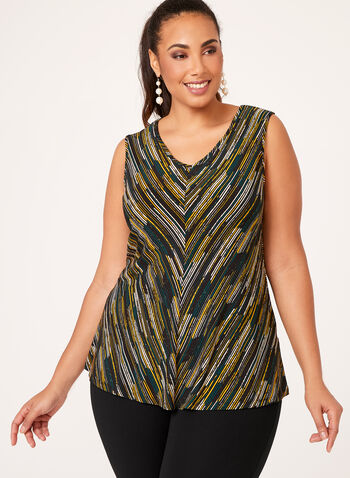 Graphic Print Jersey Top, Green, hi-res