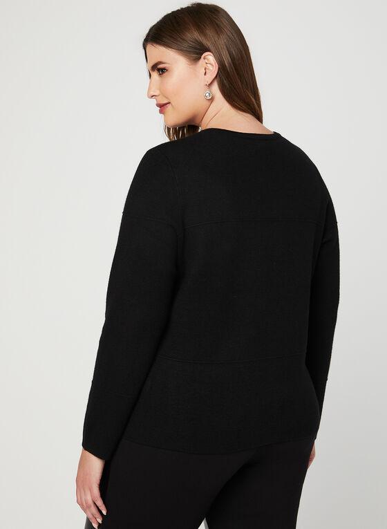 Cardigan boutonné en tricot, Noir, hi-res
