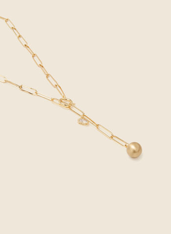Oval Chain Y Necklace, Gold,  jewellery, accessories, necklace, chain, oval link, y, pendant, crystal, metallic, ball, spring summer 2021