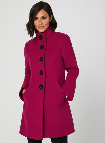 Faux Wool Button Down Coat, Pink, hi-res
