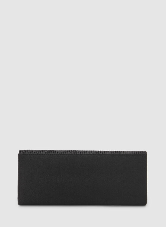Pochette enveloppe satinée et plissée, Noir