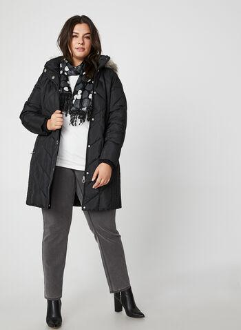 Manteau matelassé en duvet véritable, Noir, hi-res,  manches longues, lavable à la machine, automne hiver 2019, col montant, rabat, capuchon, fausse fourrure, capuchon amovible