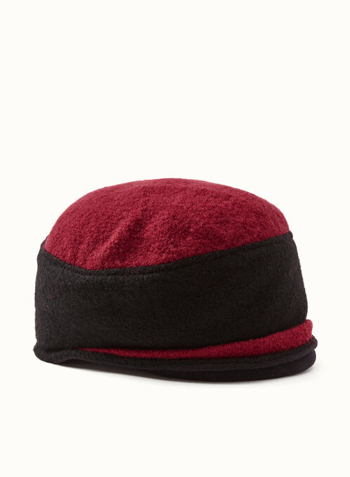 Two-Tone Wool Bouclé Hat, Red, hi-res