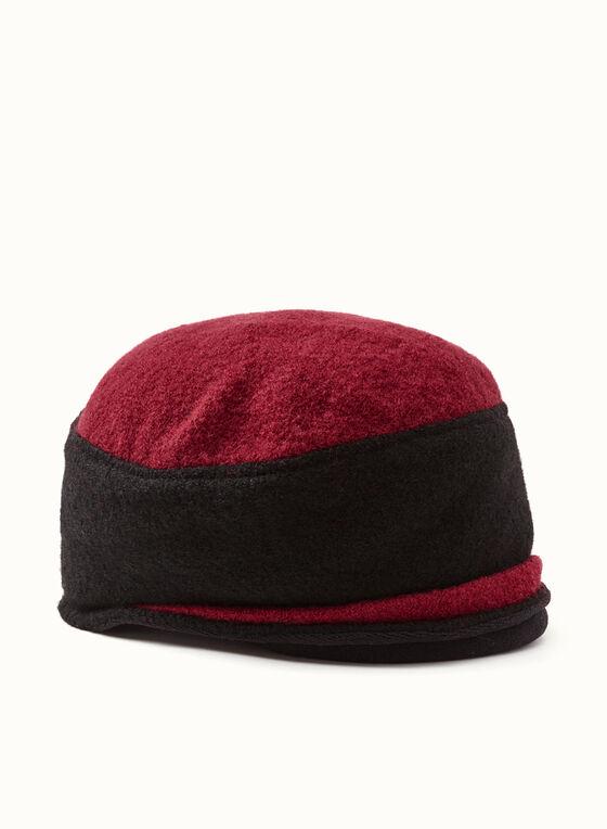 Tuque bi-ton en laine bouclée, Rouge, hi-res
