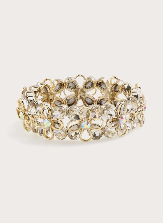 Crystal Flower Bracelet , Silver, hi-res