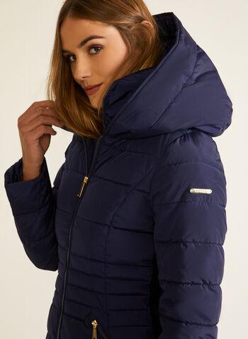 Laundry - Manteau mi-long en duvet végane, Bleu,  automne hiver 2020, manteau, Laundry, manteau d'hiver, capuchon, zip, glissière, poches, plastron, duvet, matelassé, hydrofuge, imperméable