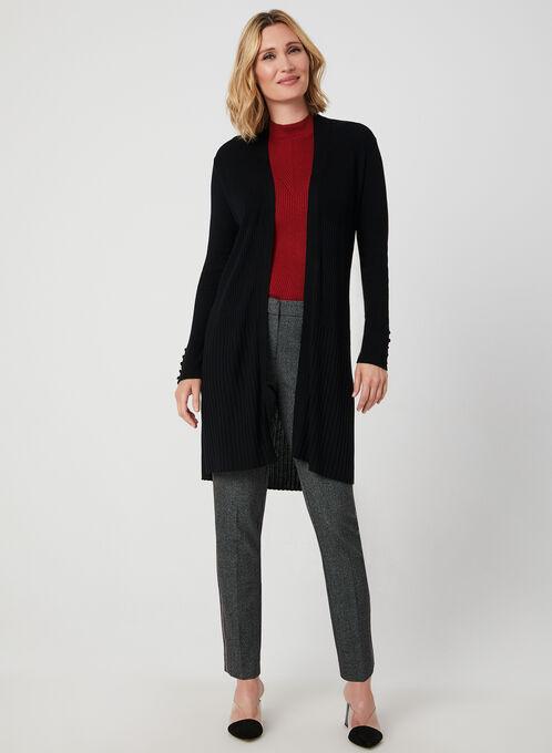 Cardigan long ouvert en tricot côtelé, Noir