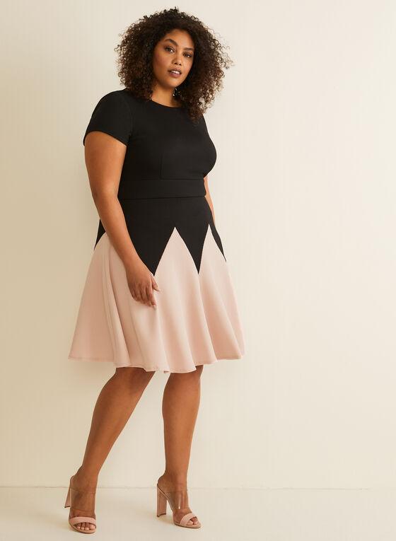 Fit & Flare Waffle Knit Dress, Black