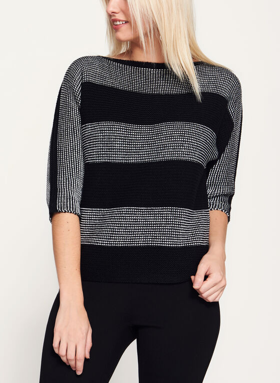 ¾ Sleeve Stripe Print Double Knit Sweater , Black, hi-res