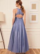 Sleeveless Metallic Pleated Gown , Blue