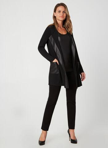 Faux Leather Trim Cardigan, Black, hi-res,  blazer, open-front top, edge-to-edge cardigan
