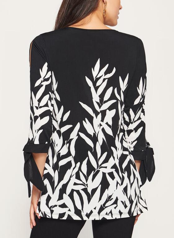 Tunique motif feuille et manches ¾ avec lien à nouer, Noir, hi-res