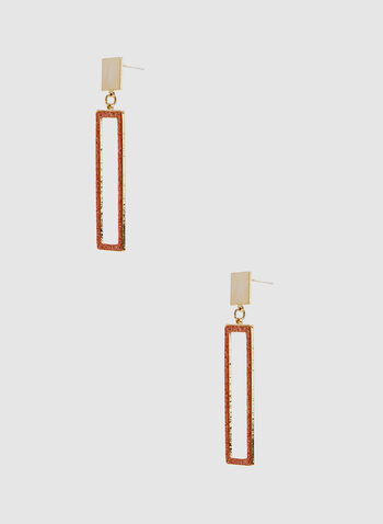 Rectangular Dangle Earrings, Gold, hi-res