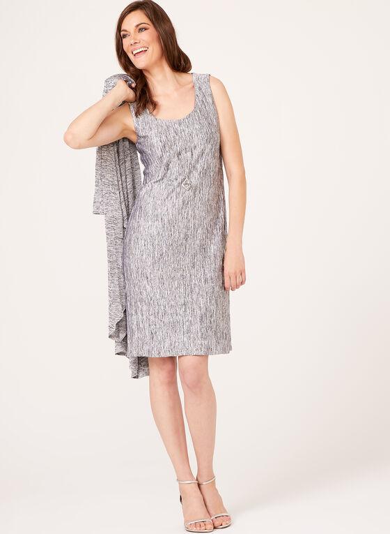 Metallic Tank Dress With Matching Cardigan, Silver, hi-res