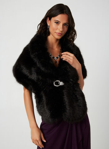 Faux Fur Stole, Black,  fall 2019, stole, faux fur, crystal clip, satin lining