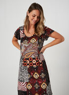 Patchwork Print Nightgown, Red, hi-res