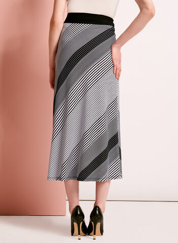 Graphic Stripe Print Midi Skirt, , hi-res