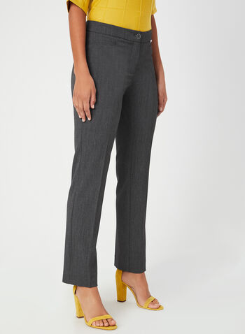 Modern Fit Straight Leg Pants, Grey, hi-res,  bi-stretch, stretchy, mid rise, trouser, tailored, workwear, fall 2019, winter 2019