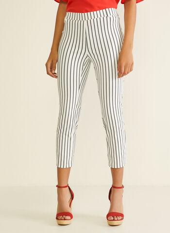 Stripe Print Zipper Detail Capris, Blue,  capris, stripe print, zipper, pockets, slim, spring summer 2020