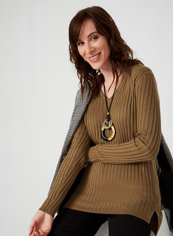 Ribbed V-Neck Sweater, Brown,  sweater, knit, ribbed, long sleeves, V-neck, fall 2019, winter 2019