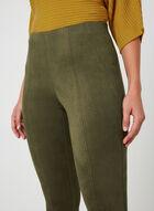 Faux Suede Slim Leg Pants, Green