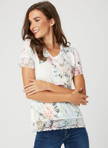 Floral Print Lace Detail T-Shirt, Multi, hi-res