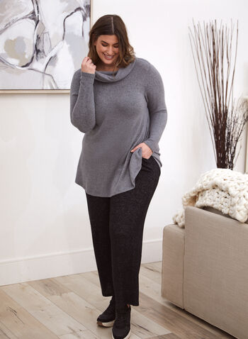 Cowl Neck Tunic, Grey,  made in Canada, top, tunic, cowl neck, long sleeves, fall winter 2021