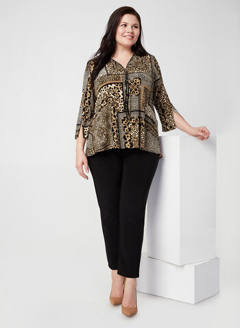 Joseph Ribkoff - Animal Print Top, Black,  online exclusive, Canada, Joseph Ribkoff, jersey, animal print, 3/4 sleeves, fall 2019, winter 2019