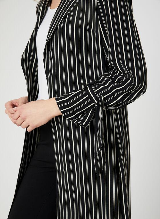 Stripe Print Duster Jacket, Black