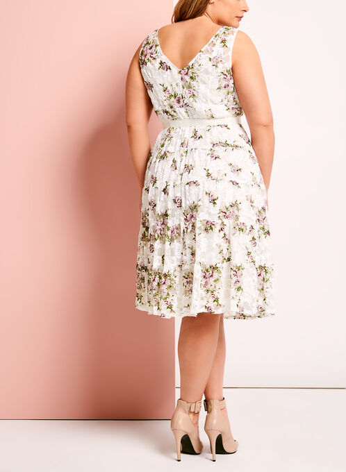 Floral Print Lace Overlay Dress, White, hi-res