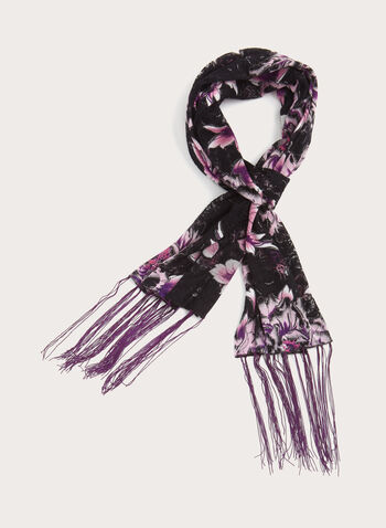 Peony Burnout Scarf, Purple, hi-res