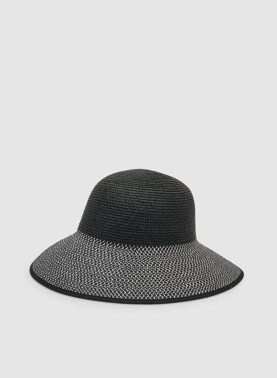 Straw Cloche Hat, Black
