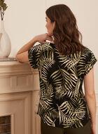 Tropical Print Short Sleeve Top, Black