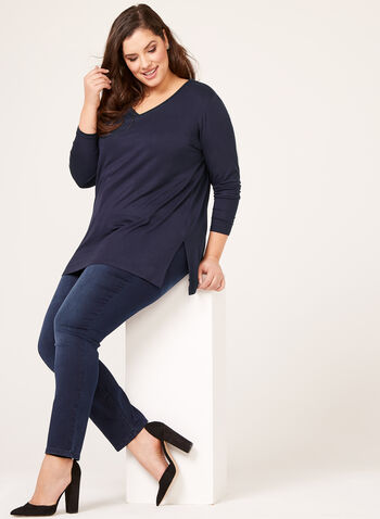 Long Sleeve V-Neck Knit Top, Blue, hi-res