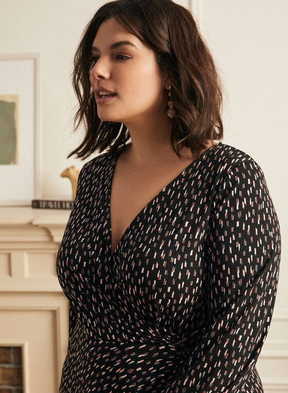 Geometric Print Day Dress, Black