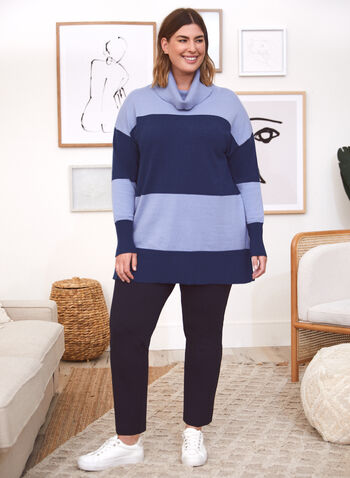 Cowl Neck Colour Block Sweater, Blue,  fall 2021, sweater, tunic, pullover, top, cowl neck, turtleneck, long sleeves, ribbed knit, cuffs, side slits, colour block, stripe, pattern, print, comfy, cozy