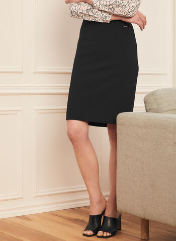 Zip Closure Straight Skirt, Black,  skirt, straight, fall winter 2020