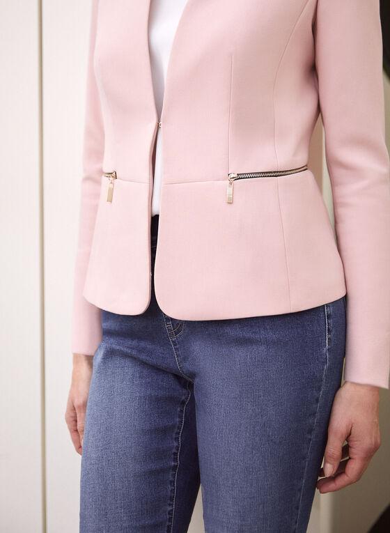 Zipper Detail Collarless Jacket , Pink